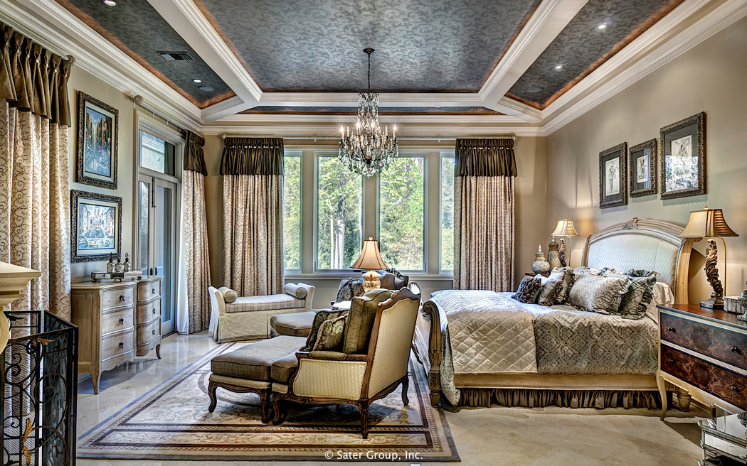The Master Suite Bed Room Has A Beautifully Detailed Ceiling And Generous Windows